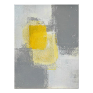 "Da ""arte abstracta cinzenta e amarela da mistura poster"