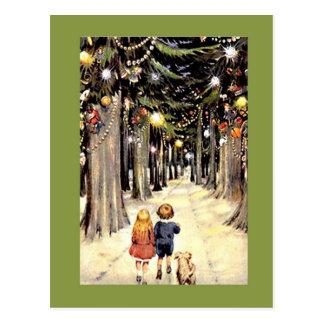Da caminhada uma viagem nostálgica do Natal para b Cartões Postais