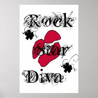 """Da """"diva estrela do rock"""" no poster branco"""