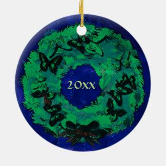 """Da """"enfeites de natal da grinalda borboleta"""" ornamento de cerâmica"""