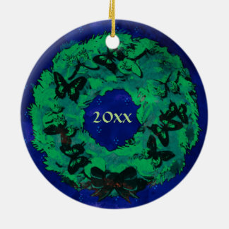 """Da """"enfeites de natal da grinalda borboleta"""" ornamento de cerâmica redondo"""