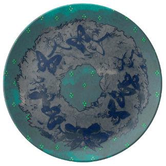 """Da """"placa da porcelana da grinalda borboleta"""" pratos de porcelana"""