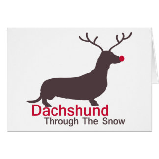 Dachshund através da neve cartão comemorativo
