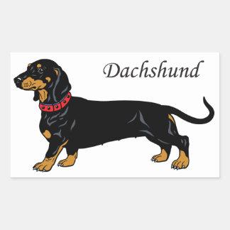dachshund preto adesivo retangular