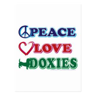 Dachsund dos Paz-Amor-Doxies Cartão Postal