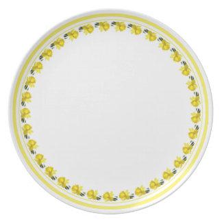 Daffodil amarelo - fotografia floral cortada prato de festa