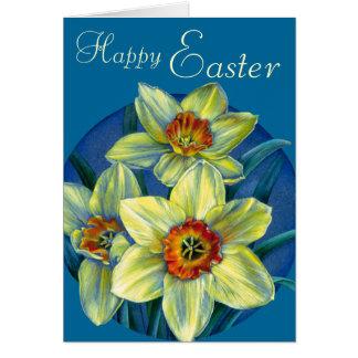 """Daffodils cartão amarelo e azul do """"felz pascoa"""" cartão comemorativo"""