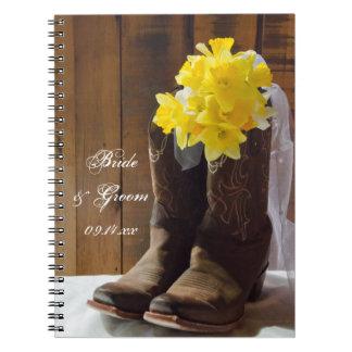 Daffodils e casamento ocidental do país das botas caderno