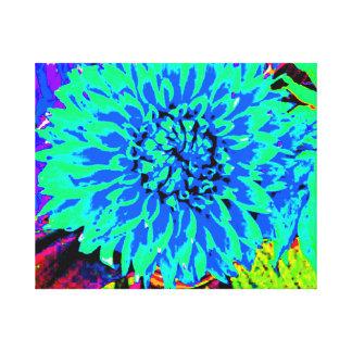 dália, azul, verde, roxo, frasco de pedreiro impressão em tela