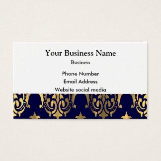 Damasco azul escuro e do ouro cartão de visitas