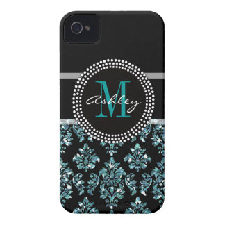 Damasco azul feminino do preto do brilho capa para iPhone 4 Case-Mate