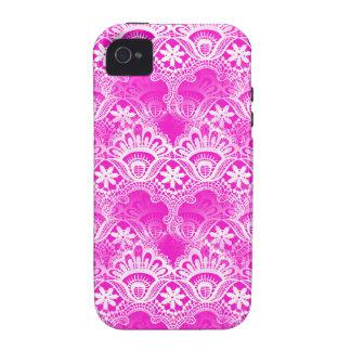 Damasco branco fúcsia feminino do laço do rosa que capinhas para iPhone 4/4S