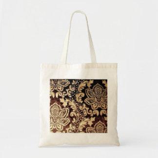 damasco castanho chocolate afligido do ouro do bolsa tote
