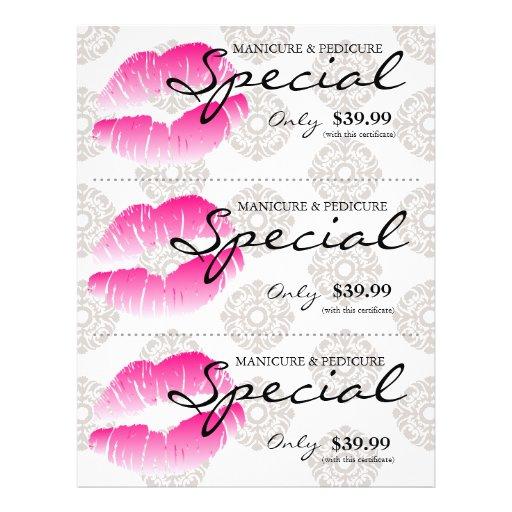 Damasco cor-de-rosa dos lábios dos termas do insec panfleto personalizado