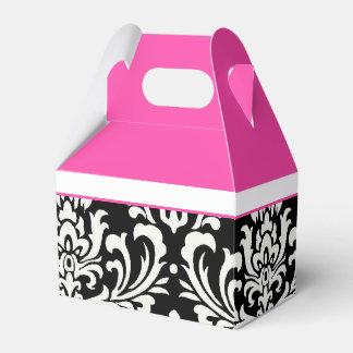 Damasco cor-de-rosa e preto caixinha de lembrancinhas para festas