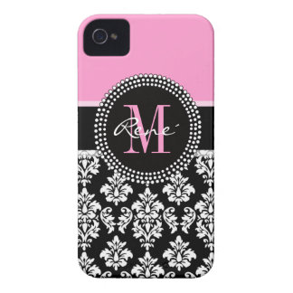 Damasco cor-de-rosa, preto feminino, seu monograma capa iPhone 4 Case-Mate