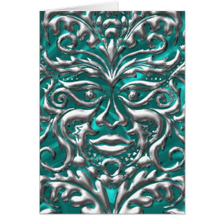 damasco de prata líquido de 3D GreenMan na luxúria Cartão Comemorativo