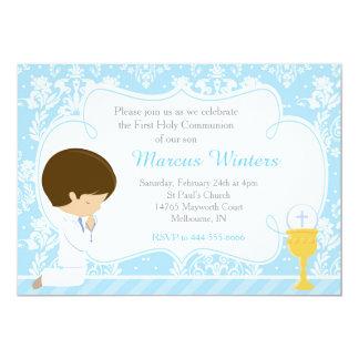 Damasco do comunhão do menino triguenho primeiro convite 12.7 x 17.78cm
