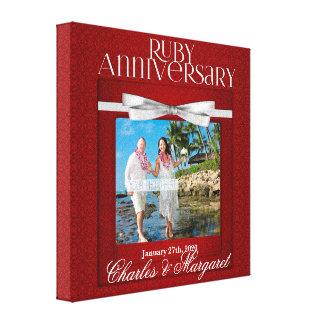 damasco do vermelho do aniversário de casamento do impressão em tela