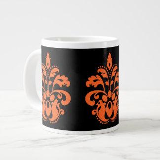 Damasco elegante em preto e laranja para o Dia das Canecas De Café Muito Grande
