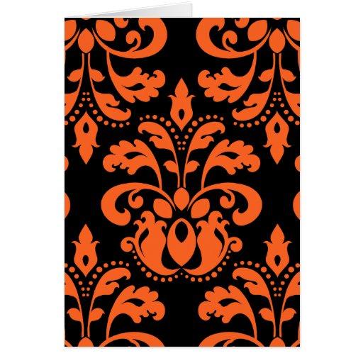 Damasco elegante em preto e laranja para o Dia das Cartao