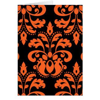 Damasco elegante em preto e laranja para o Dia das Cartão Comemorativo