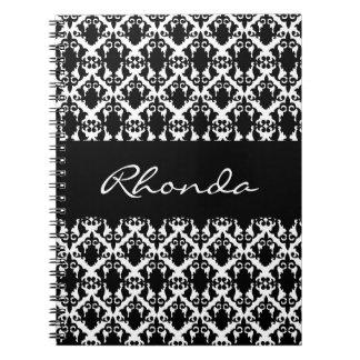 Damasco elegante preto e branco cadernos
