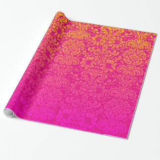 Damasco elegante (rosa quente e laranja) papel de presente