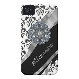 Damasco feminino chique do vintage personalizado iPhone 4 capas