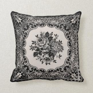 Damasco francês dos rosas do vintage - travesseiro