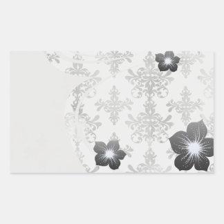 damasco intrincado branco preto afligido adesivo em forma retangular