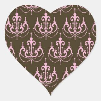 damasco marrom e cor-de-rosa do francês do adesivo em forma de coração