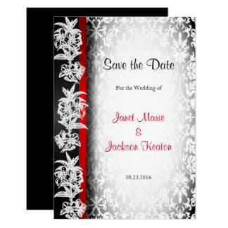 Damasco moderno do casamento no branco, no preto e convite 8.89 x 12.7cm