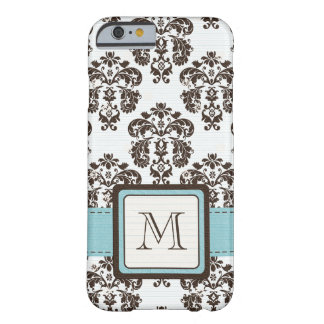 Damasco Monogrammed de Brown azul Capa iPhone 6 Barely There