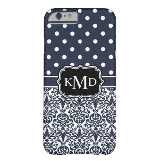 Damasco Monogrammed do marinho do trio Capa Barely There Para iPhone 6
