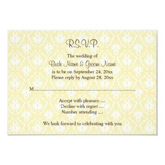 Damasco no branco e no creme - casamento de Tan Convite 8.89 X 12.7cm