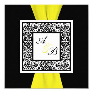 Damasco preto, branco, amarelo FITA IMPRESSA Convite Quadrado 13.35 X 13.35cm
