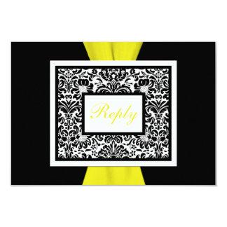 Damasco preto, branco, amarelo FITA IMPRESSA RSVP Convite 8.89 X 12.7cm
