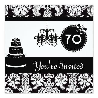 damasco preto & branco Invitatio da festa de Convite Quadrado 13.35 X 13.35cm