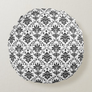 Damasco preto e branco almofada redonda
