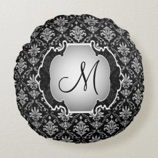 Damasco preto e branco do monograma almofada redonda