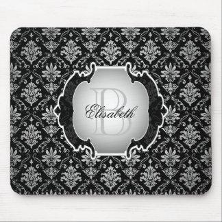 Damasco preto e branco do monograma mouse pad