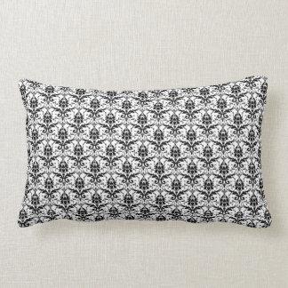 Damasco preto e branco travesseiros