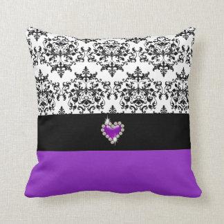 Damasco preto roxo elegante travesseiros