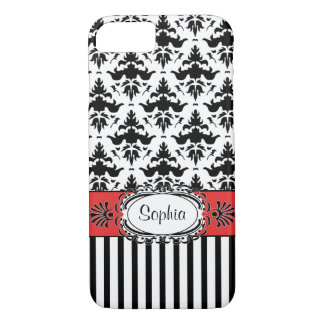 Damasco vermelho de Dolce Vita, preto e branco Capa iPhone 7