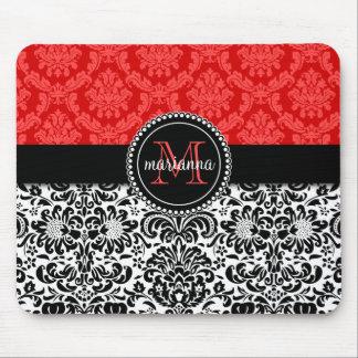 Damasco vermelho preto elegante personalizado mouse pad