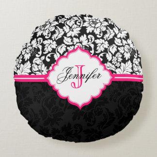 Damascos florais pretos do vintage branco & almofada redonda