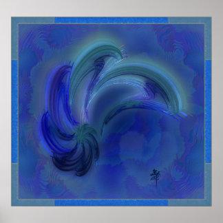 Dança da arte abstracta dos golfinhos poster
