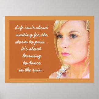 Dança na chuva - poster das citações pôster