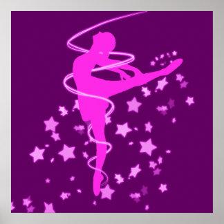Dançarino da bailarina com efeito do fulgor pôster